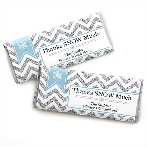 Big Dot of Happiness Custom Winter Wonderland - Personalized Snowflake Holiday Party and Winter Wedding Favors Candy Bar Wrappers - Set of -