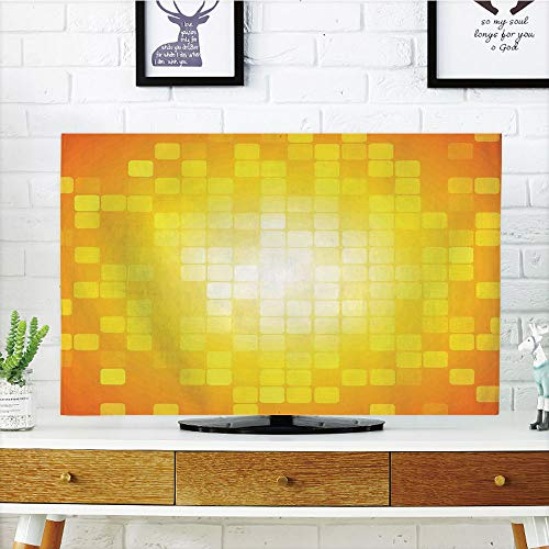 iPrint LCD TV Cover Lovely,Yellow,Mosaic Retro Square Shapes and Patterns Pixels Rays Chic Contemporary Graphic Design,Orange Yellow,Diversified Design Compatible 65