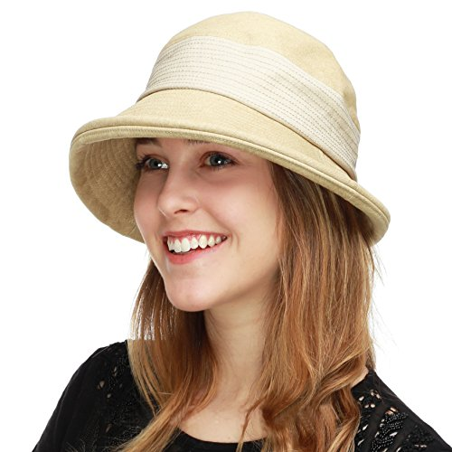 BLACK HORN Ladies Packable Women's Wide Brim Sun Bucket Hat (Collete- Beige)