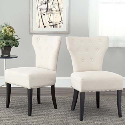 Cheap Safavieh Mercer Collection Jamie Cream Polyester Dining Chair, Set of 2