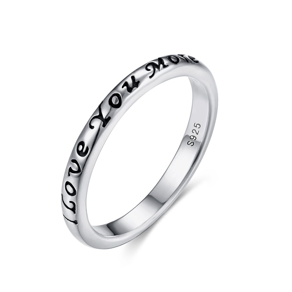 Tongzhe 3mm I Love You More Wedding Band Ring in Antique Sterling Silver 925 with US Size 6