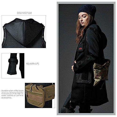 Rangers Multi-Tachen weiches Material, Professioneller Outdoor-Fotograf Trenchcoat mit abnehmbarer Kapuze und Ärmeln ( Schwarz ) RA803B36