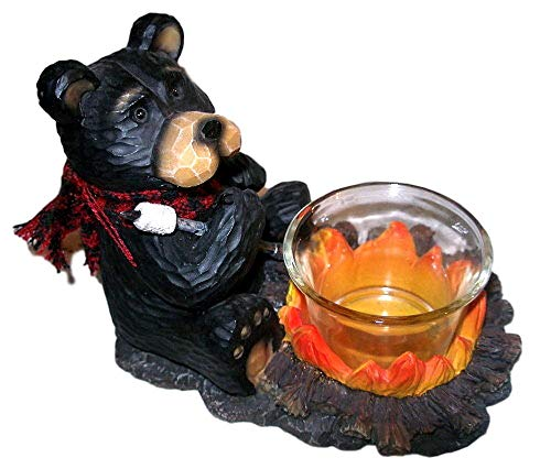 Young's Black Northwood Bear at Campfire Roasting Marshmallow Resin Votive Candle Holder #2 -