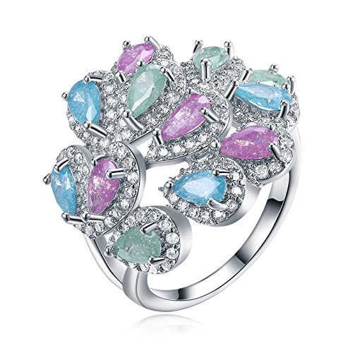AMDXD Jewelry Silver Plated Anniversary Rings for Women Flower Heart Cubic Zirconia Size -