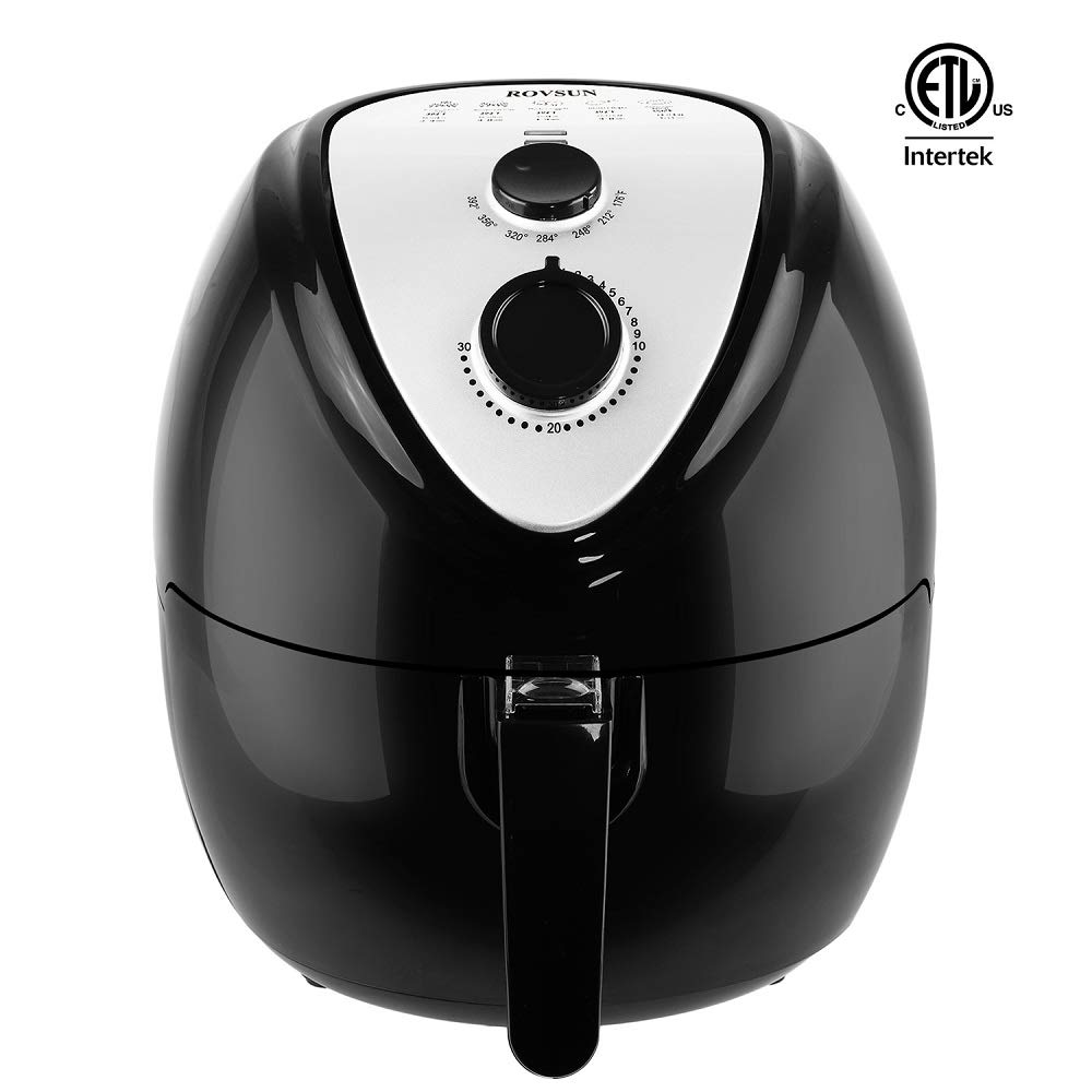 ROVSUN Electric Air Fryer 5.6 QT Capacity 1800W Air Frying Technology w/Temp and Time Control, Removable Dishwasher Safe Basket, Includes Metal Holder and Cooking Tongs Accessory, ETL Approved