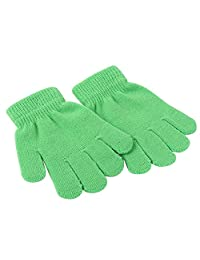XY Fancy Children Toddler Warm Solid Color Winter Spring Knit Magic Gloves For 3-13 Years Green