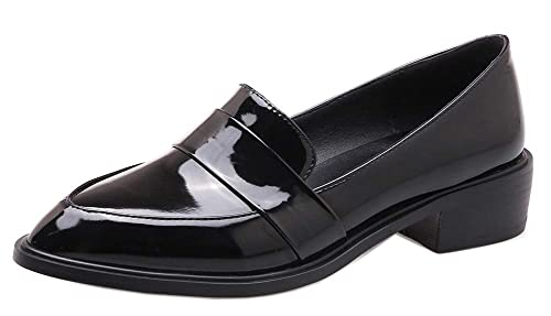 b28e0aad93dae Easemax Femme Simple Petit Talon Bout Pointu Slip on Mocassins Noir 32EU