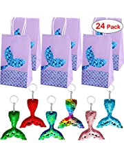 Danirora Mermaid Keychains, [24 Pack] Mermaid Party Favors with Party Gift Bags for 12 Girls Birthday Party Supplies Goodie Bag Fillers Blue