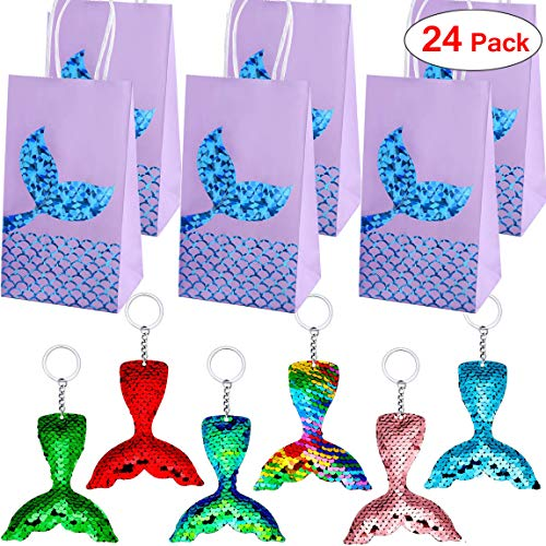 Danirora Mermaid Keychains, [24 Pack] Mermaid Party Favors with Party Gift Bags for 12 Girls Birthday Party Supplies Goodie Bag Fillers