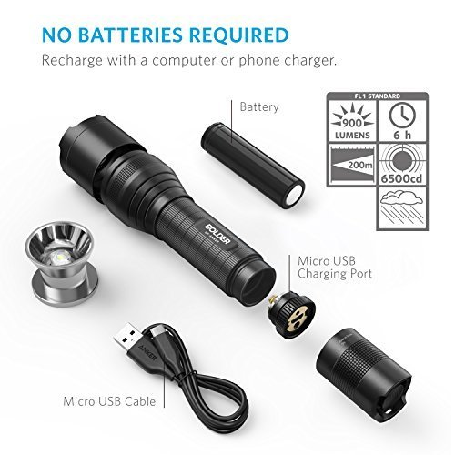 Anker AK-T1420011 Super Bright Tactical Flashlight, Rechargeable (18650 Battery Included), Zoomable IP65 Water-Resistant, 900 Lumens CREE LED, 5 Light Modes for Camping and Hiking, Bolder LC90 by Anker (Image #6)