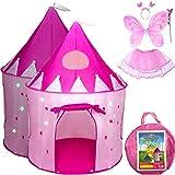 Tienda emergente en forma de castillo y disfraz de princesas, juego de 5, casa de juegos para niñas pequeñas, uso en interiores y exteriores, bolsa de transporte rosada estilo cuento de hadas y estrellas que brillan en la oscuridad, para niñas