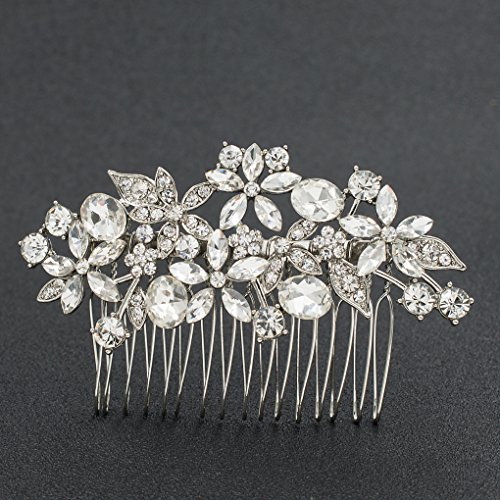 SEPBRDIALS Rhinestone Crystal Wedding Brides Flower Hair Comb Pins Accessories Jewelry FA5087 (Silver)