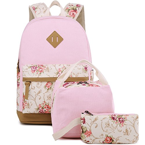 BLUBOON Teens Backpack Set Canvas Girls School Bags, Bookbags 3 in 1 (Floral Pink - 3pcs)