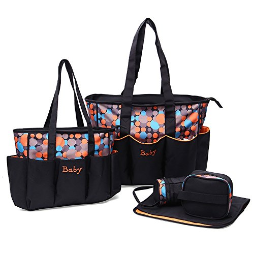 Kuoser waterproof and multifuction Dot Pattern Mommy Tote bag Travel bag set 5 pieces Diaper bag Handbag with Changing Pad and Bottle Bag,Orange ()