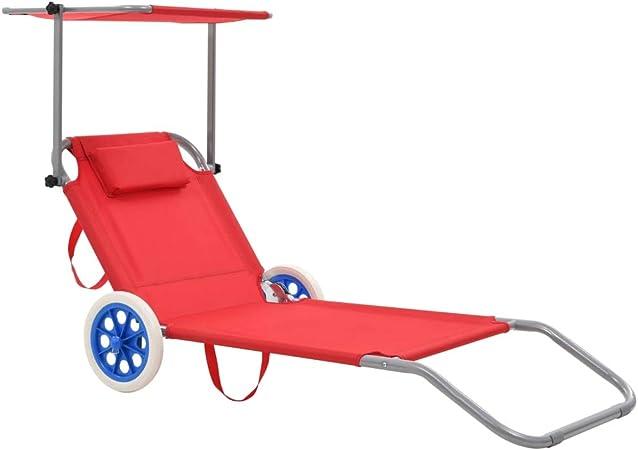 Tidyard Chaise Longue Pliable De Plage Avec Auvent Chaise Longue A Roulettes Rouge Diverses Couleurs Au Choix Amazon Fr Cuisine Maison