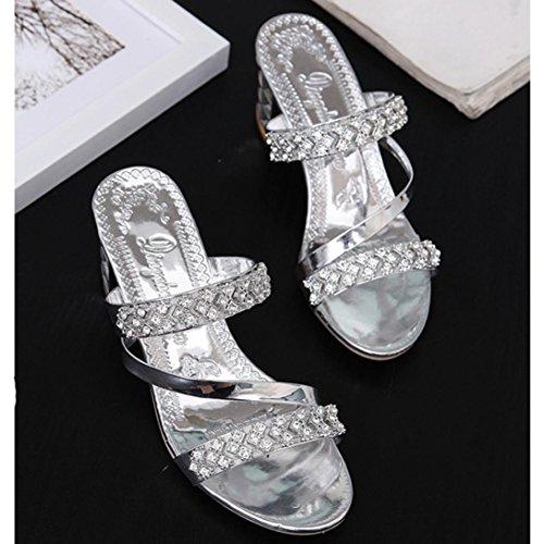 Casuale Spiaggia Pantofole Toe Infradito Antiscivolo Pantofole Classico Open Moda Eleganti Sandali Scarpe Estate Argento Donne Leggero Comfort zS8qTYqw