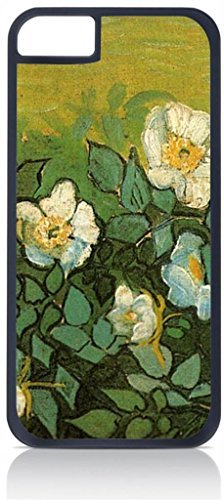Vincent Van Gogh-Wild Roses - Case for the Apple Iphone 6 Plus Only-Hard Black Plastic Outer Shell ()