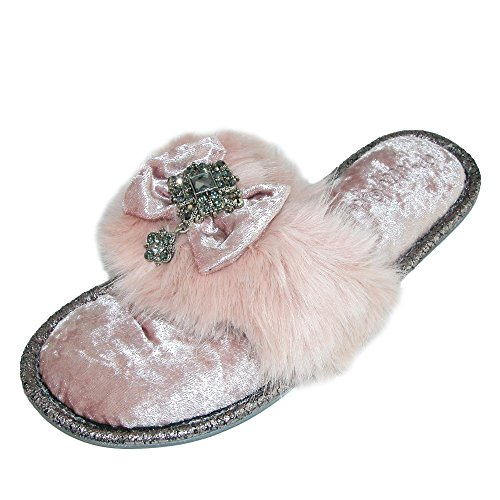Pretty You London Women's Dress Slippers with Bow & Faux Fur Detail Womens Valentino Bow