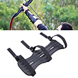 edealing Archery Arm Guard, Cowhide Leather Three Adjustable Straps Archer Protector Shooter Protection-Black