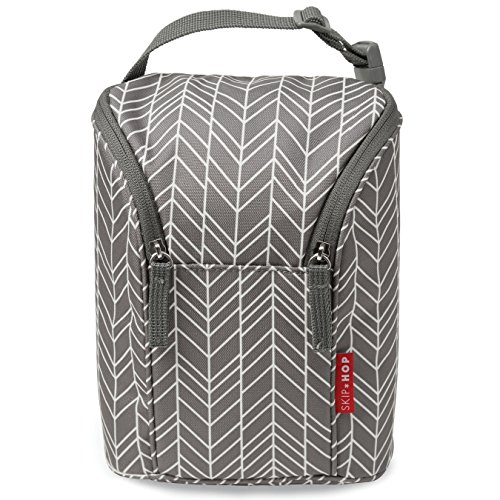 Skip Hop Grab-and-Go Insulated Double Bottle Bag, Grey Feather