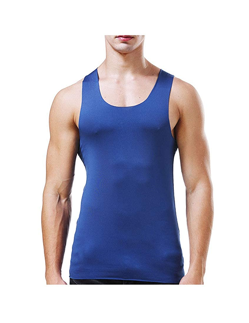 NatrE Mens Seamless Vest Tights Sleeveless Cool Dry Summer Ice Silk Vests Shirt