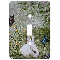3dRose lsp_44347_1Bunny Rabbit In Grass With Butterflies Flying Nearby Toggle Switch