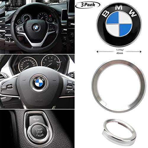 3Piece For BMW Steering Wheel Emblem Decal+Steering Wheel Center alloy Decor+Start Stop Button Ring Push Button Ignition Switch Decor combination,Make your car very cool (Silver) ()