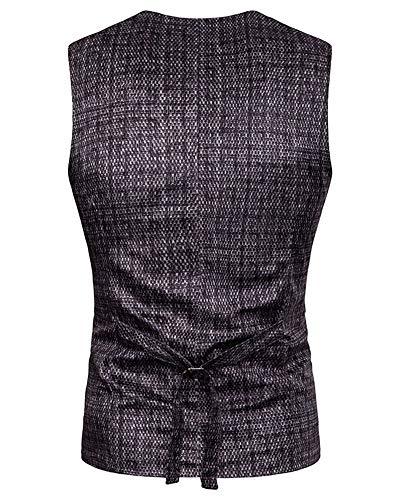 Bouton Manches Gilet Veste Homme Fit Costume Gris Sans Modèle Slim Causual V Foncé neck f0v1Uwq0