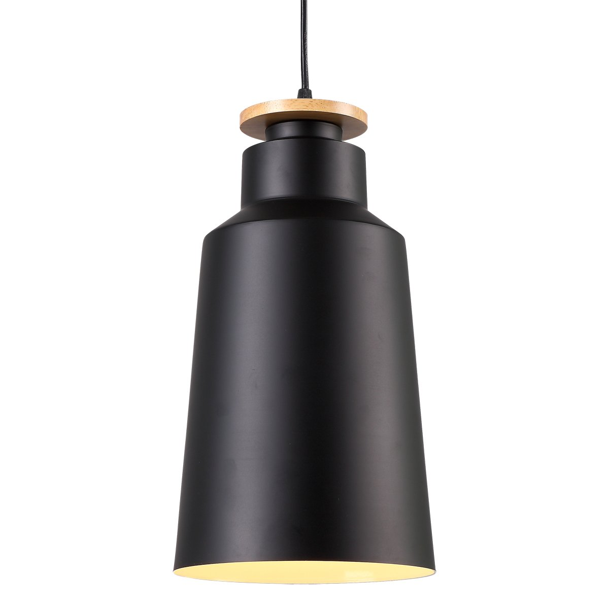 Homiforce vintage style 1 light large black dome pendant light with metal shade in matte black finish modern industrial edison style cl2017073 close