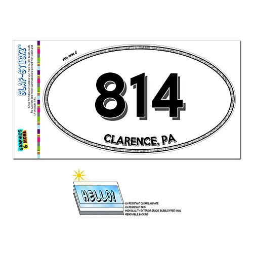 Area Code Oval Window Sticker 814 Pennsylvania PA Aaronsburg - Clarington - Clarence