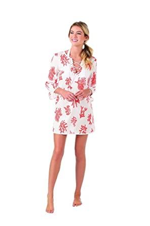 8773b063fa Mud Pie Womens Easton Essential Summer Cover-Up, Coral Crush Print, Size  Small