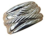 Gempara Designer Inspired 14K White Gold Plated 1.5 inches Confetti Wide Cable Cuff Bracelet