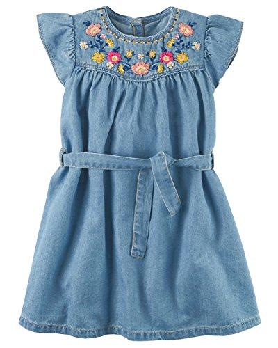 Carter's Girls' 2T-8 Embroidered Yoke Denim Dress 7
