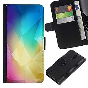Protector de cuero de la PU de la cubierta del estilo de la carpeta del tirón BY RAYDREAMMM - Samsung Galaxy S4 IV I9500 - Polígono Colores