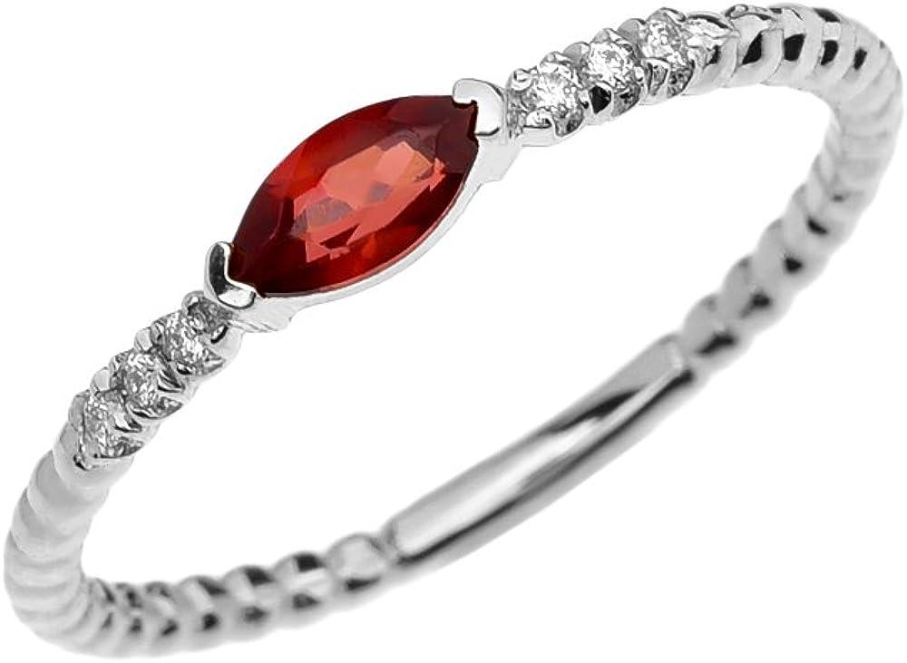 14K White Gold Polished Marquise Garnet January Stone Ring Size 7