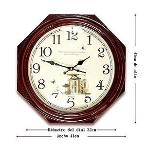 Wall clock Reloj Estilo Moderno y Sencillo Dormitorio Cocina Sala de Estar Oficina Esfera de Metal Espejo de Cristal Marco de Madera Movimiento de escaneo 2 Pilas AA 2