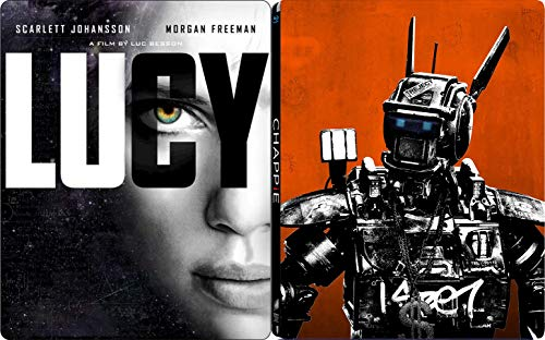 (Police droid Sci-Fi Chappie Hugh Jackman + A Dark Deal - Lucy Scarlett Johansson Steelbook Special Edition Double Movie Collection 2 Blu Ray Pack)