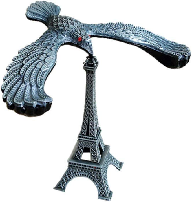 PROW Simple Retro Silver Balance Eagle Gravity Self Balance Toy Eiffel Tower Balancing Bird Stress Toy Alloy Iron Office Crafts Home Decoration Statue Sculpture Personalised Gifts