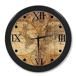 Custom Fashion Home Decorative Old World Map Round Elegant Wall Clock