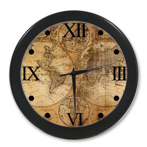 Custom Fashion Home Decorative Old World Map Round Elegant Wall Clock (Map Clock World Old)