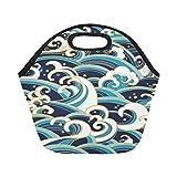 InterestPrint Japanese Ocean Wave Reusable Insulated Neoprene Lunch Tote Bag Cooler 11.93'' x 11.22'' x 6.69'', Traditional Asian Style Portable Lunchbox Handbag for Men Women Adult Kids