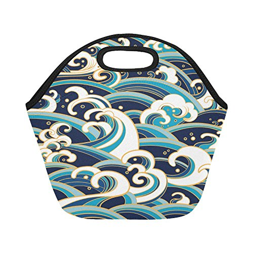 InterestPrint Japanese Ocean Wave Reusable Insulated Neoprene Lunch Tote Bag Cooler 11.93'' x 11.22'' x 6.69'', Traditional Asian Style Portable Lunchbox Handbag for Men Women Adult Kids by InterestPrint
