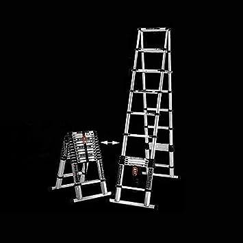 AOLI Mini escalera de extensión, escalera de extensión telescópica plegable portátil para escalar en casa Escaleras de sitio de elevación Escalera de bambú 3.2 + escalera plegable de 2.6M: Amazon.es: Bricolaje y