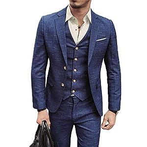 NSBS Mens 3 Piece Classic Tweed Herringbone Check Tan Slim Fit Vintage Suit (US Size)