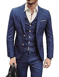 Mens 3 Piece Classic Tweed Herringbone Check Tan Slim Fit Vintage Suit (US Size)