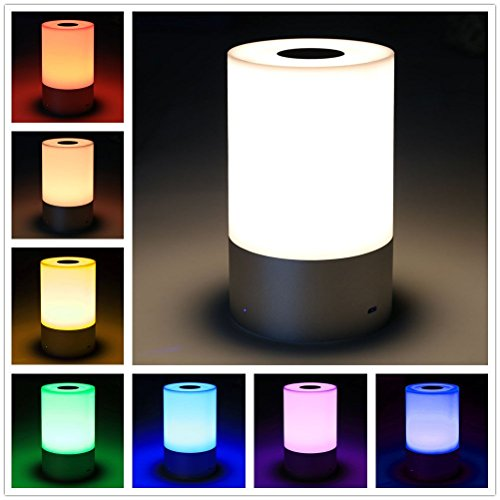 Sensor Table Lamp,Bedside Touch Lamps Dimmable Nightstand Small Table Lamp Warm White Light & Color Changing RGB for Bedrooms