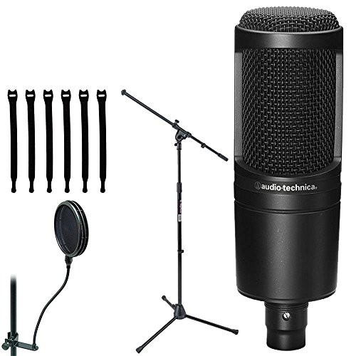 Audio-Technica AT2020 Cardioid Condenser Studio Microphone with Euro Boom Microphone Stand + Pop Filter & Strapeez