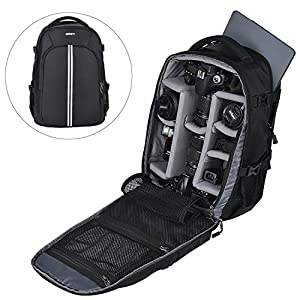 Abonnyc Camera Bag Laptop Travel Backpack Gadget Bag w/ Rain Cover For Canon Nikon Sony Fujifilm Panasonic Pentax Samsung Olympus ,Black