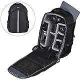 Abonnyc Camera Bag Laptop Travel Backpack Gadget Bag w/Rain Cover For Canon Nikon Sony Fujifilm Panasonic Pentax Samsung Olympus,Black