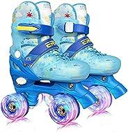 4 Size Adjustable Roller Skates Shoes for Kids Girls,Quad Skates for Women with Light Up Wheels , Roller Blade